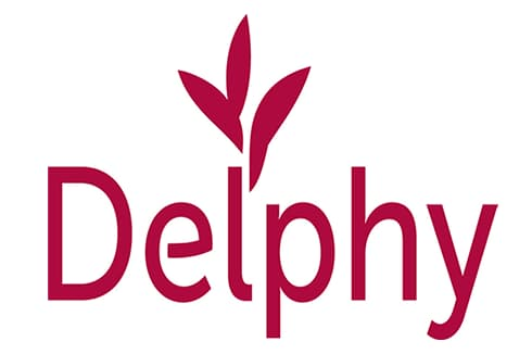 Delphy logo. Red letters on white background